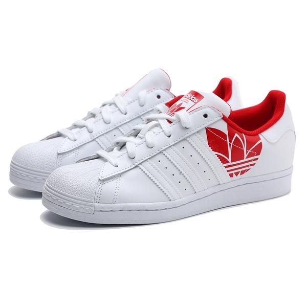 ADIDAS 休閒鞋 ORIGINALS SUPERSTAR 白紅 皮革 鋼印LOGO 復古 板鞋 女 (布魯克林) FY2828