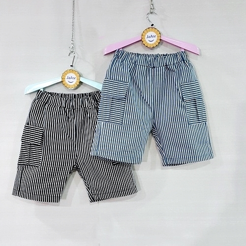 ☆棒棒糖童裝☆(E68648)夏男童鬆緊腰直條紋左右口袋彈力褲 5-15
