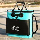 釣魚桶 魚護桶eva加厚釣魚桶多功能活魚箱裝魚箱折疊防水裝魚桶魚護箱 物節 夢藝家
