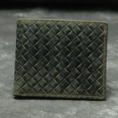 瘋馬皮皮夾(短夾)-時尚經典編織紋對折男錢包73qs57[時尚巴黎]