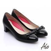 A.S.O 職場女力 鏡面真皮拼接復古粗跟中跟鞋  黑
