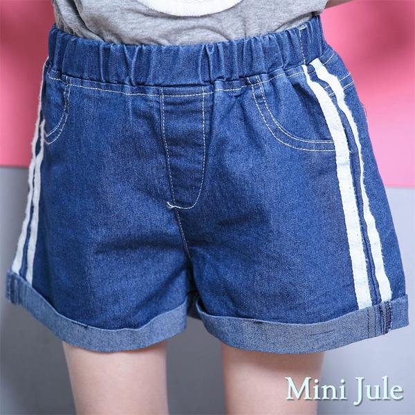 Mini Jule 女童 短褲 側線條造型反摺褲管鬆緊牛仔短褲(深藍)