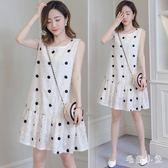 波點裙 氣質百搭寬鬆顯瘦孕婦洋裝夏裝新款韓版小清新無袖連身裙 JA6306『毛菇小象』