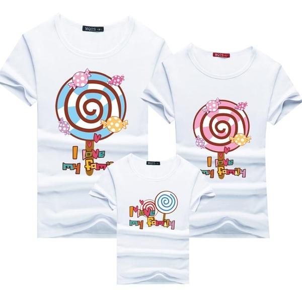親子裝可愛棒棒糖T恤爸爸媽媽純棉親子裝  現貨