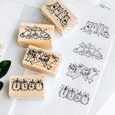 【BlueCat】排排坐系列木質印章 手帳印章 (5*3cm)