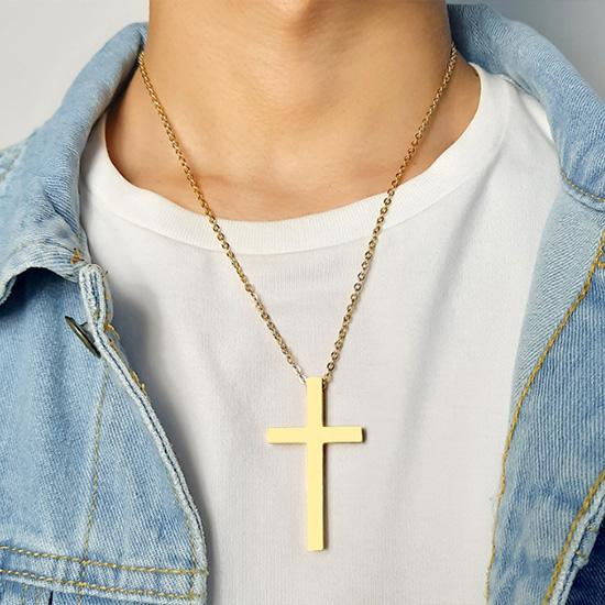 《QBOX 》FASHION 飾品【CPN-237】精緻個性基督教大款十字架鈦鋼墬子項鍊/掛飾(三色)