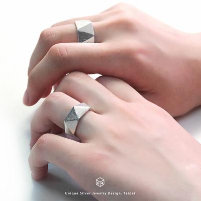 續未來 三角形 925純銀戒指(一對)-64DESIGN