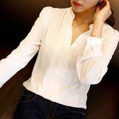 襯衫女新款春裝韓版時尚長袖寬鬆白襯衣百搭雪紡短袖打底寸衫【全館滿一元八五折】