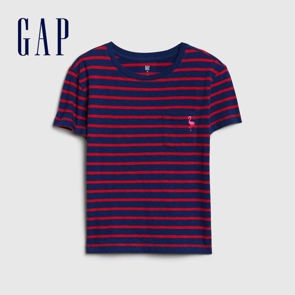 Gap女童棉質童趣刺繡圓領短袖T恤538278-紅色條紋