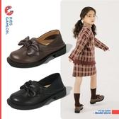 女童小皮鞋春秋韓版黑色公主單鞋真皮蝴蝶結小女孩學生鞋 交換禮物