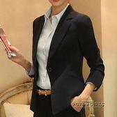 黑色短款小西裝春秋新款聳肩韓版修身顯瘦女裝長袖職業小西服外套