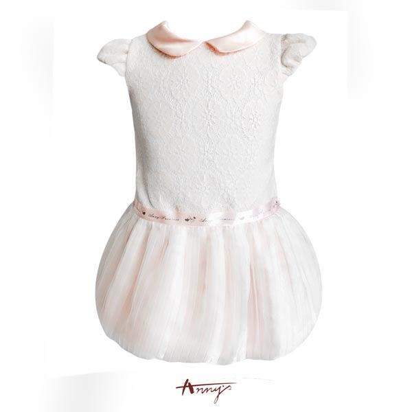 Annys高質緞領蕾絲緞帶精紗花苞洋裝*7210粉