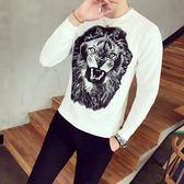 韓版 男裝個性花色t恤衫韓版修身長袖打底衫春裝流行提花t恤小衫男體恤 韓先生