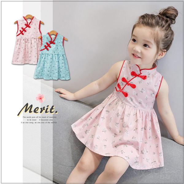 清新古風碎花無袖洋裝 中國風 旗袍 棉質 棉麻 連身裙 童裝