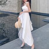 新款法式桔梗白色中長款不規則吊帶連身裙 夏季初戀蓬蓬紗裙子女 【ifashion·全店免運】
