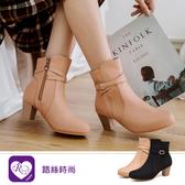 韓系時尚簡約素面環扣尖頭短跟短靴/2色/35-39碼 (RX1474-363) iRurus 路絲時尚