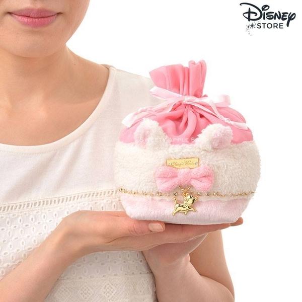 日本 Disney Store 限定 迪士尼 瑪莉貓 絨毛水鑽 束口收納袋