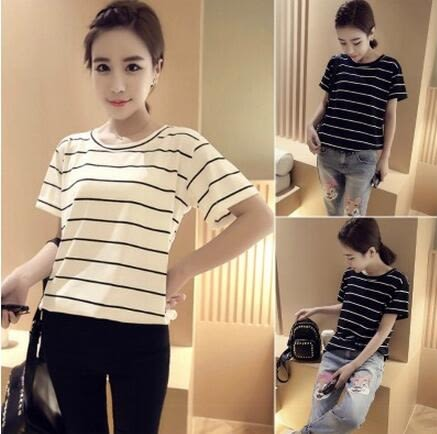 【PU09】短袖T恤 韓版黑白條紋短袖女t恤閨蜜裝寬鬆打底衫~白色