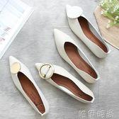 平底鞋 新款灰白繫列 尖頭舒適柔軟平底單鞋 金屬扣淺口軟綿社會鞋女 唯伊時尚