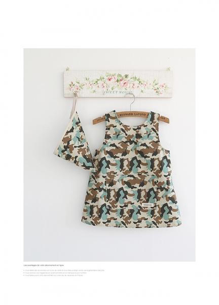 [Mamae](圍裙+頭巾)出口韓國 男女童 中童(7~10歲)迷彩圖案畫畫衣 圍裙 罩衣 書法  兒童畫畫衣 玩沙衣