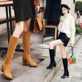 秋冬粗跟長靴側拉鏈小碼高筒靴32 33大碼長筒靴41-43百搭瘦腿冬靴 依凡卡時尚