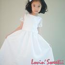 【Lovin' Sweetii】氣質小公主抽縐式小蓬裙童洋裝限量1款-雪白色