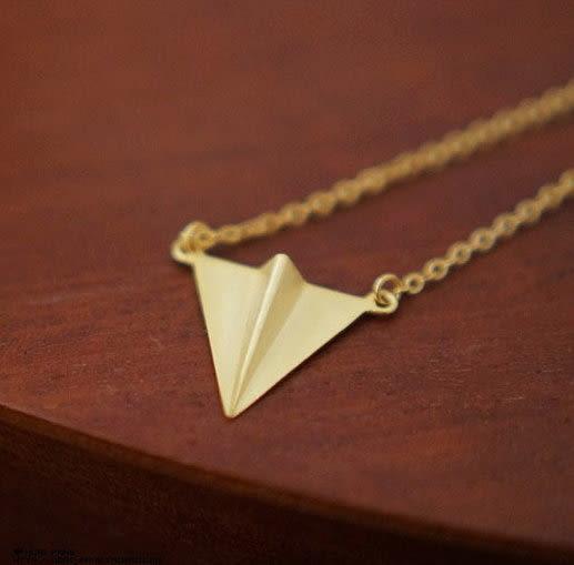 找到自己 真正純銀 手工打造 紙飛機 純銀項鍊 20% 是 100%