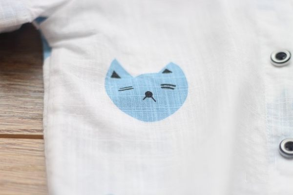 *╮小衣衫S13╭*萌貓貓透氣棉紗短袖襯衫  1050423
