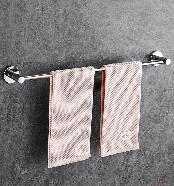 毛巾架 掛毛巾架免打孔304不銹鋼衛生間浴室毛巾桿單桿廁所廚房掛抹布架 夢藝家