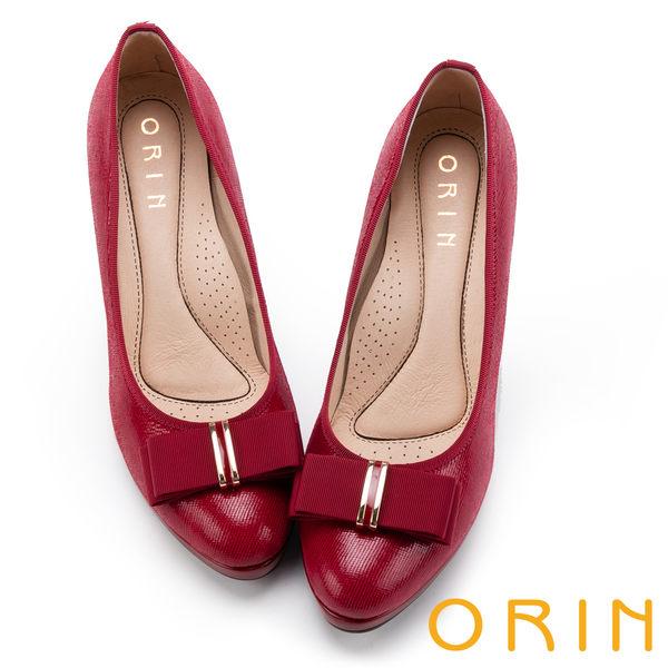 ORIN 優雅甜美系 羊皮織帶蝴蝶結金屬飾釦高跟鞋-紅色