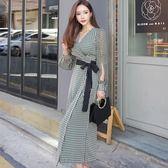 VK旗艦店 韓系氣質V領系帶收腰防曬裙時尚長袖洋裝