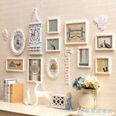 照片牆歐式帶掛鐘照片牆長方形實木創意鐘表相片牆客廳餐廳臥室相框組合 igo快意購物網