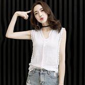 無袖上衣女夏季新款韓版修身顯瘦雪紡蕾絲衫外穿背心V領小衫