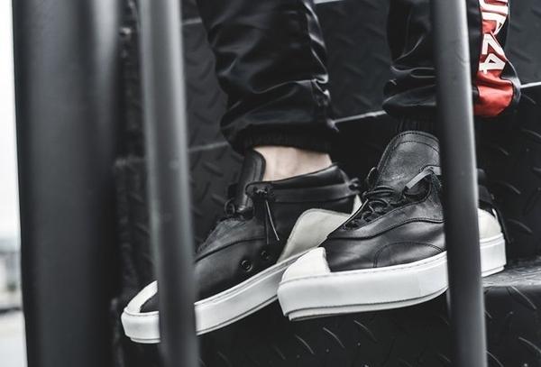 FINDSENSE MD 日系 高品質 時尚 潮 男 黑白拼色 綁帶 低跟休閒鞋