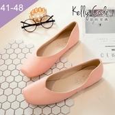 大尺碼女鞋-凱莉密碼-復古深口方頭素面簡約百搭平底鞋1cm(41-48)【HB275】粉紅