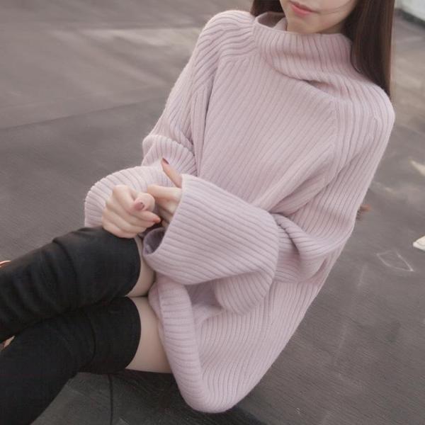 8折免運 長袖洋裝 外套秋冬女裝打底針織衫套頭寬鬆正韓中長版大袖子高領毛衣