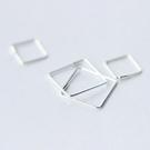 925純銀 菱形方形素面極細 耳圈耳環-18mm、12mm 防抗過敏