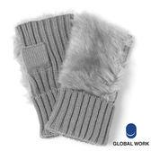 GLOBAL WORK女麻花編織毛毛半指露指手套-四色