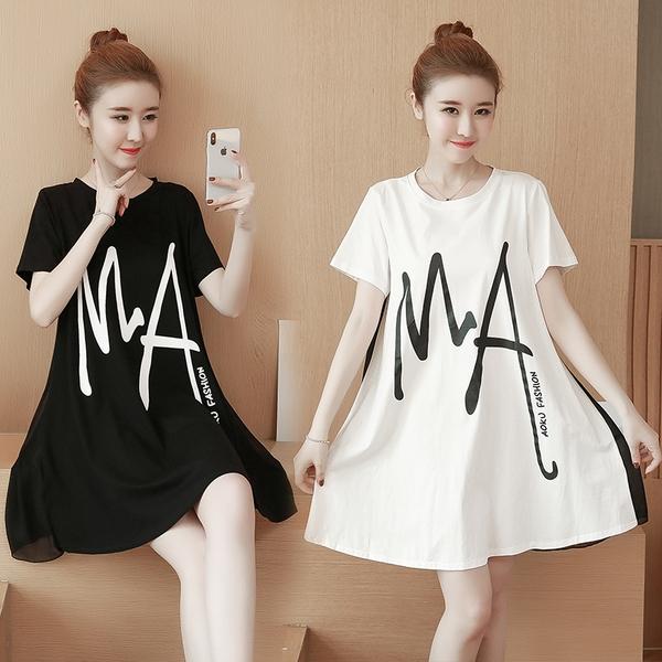 寬版洋裝T恤連身裙XL-5XL加大碼寬松雪紡打底衫中長款短袖遮肚上衣顯瘦T恤裙3F076-A.3445 1號公館