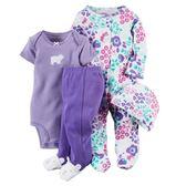 【美國Carter's】套裝四件組-新生兒純棉系列 長袖包腳連身衣+短袖包屁衣+連腳褲+嬰兒帽  121D632