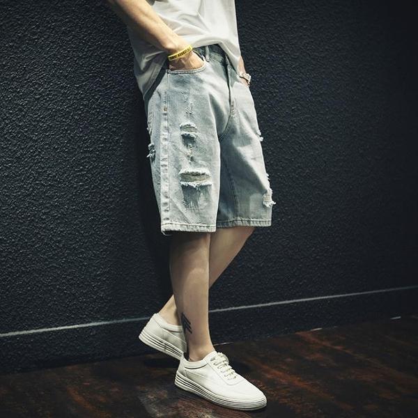牛仔短褲 破洞牛仔短褲男寬鬆潮流外穿五分褲5分中褲馬褲潮夏季薄款