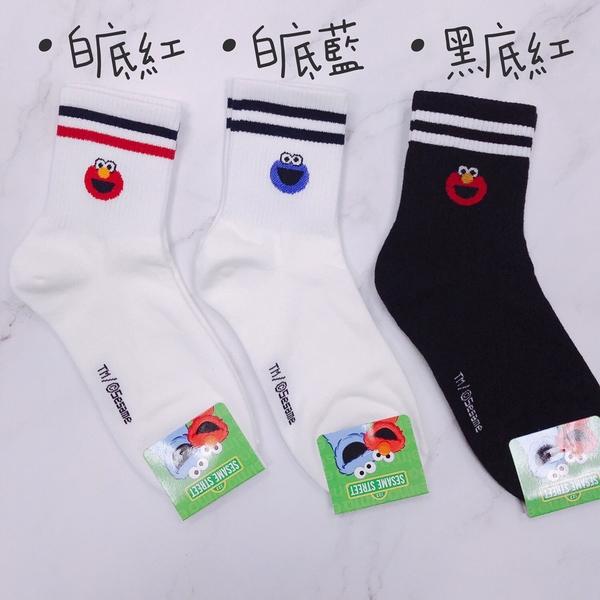 【花想容】ELMO 芝麻街Sesame Street 艾蒙條紋襪 長統襪 韓國襪子