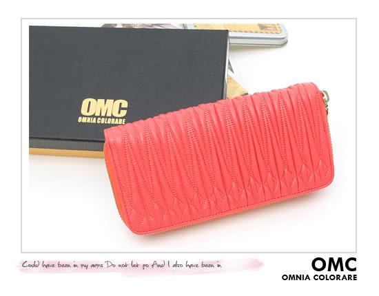OMC - 專櫃立體抓皺質感真皮雙拉鍊長夾- 蜜漾紅