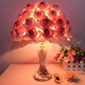 全館免運八九折促銷-水晶檯燈創意婚慶婚房裝飾臥室床頭燈檯燈歐式溫馨玫瑰花結婚交換禮物
