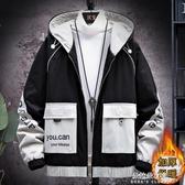 男士外套新款秋冬季韓版潮流工裝夾克男裝潮牌上衣服加絨 朵拉朵衣櫥