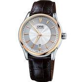 ORIS 豪利時 Artelier Date藝術家大三針機械錶-18K金/40mm 0173375916351-0752170FC
