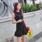 無袖洋裝 2019夏季新款蝴蝶結小黑裙修身魚尾連身裙