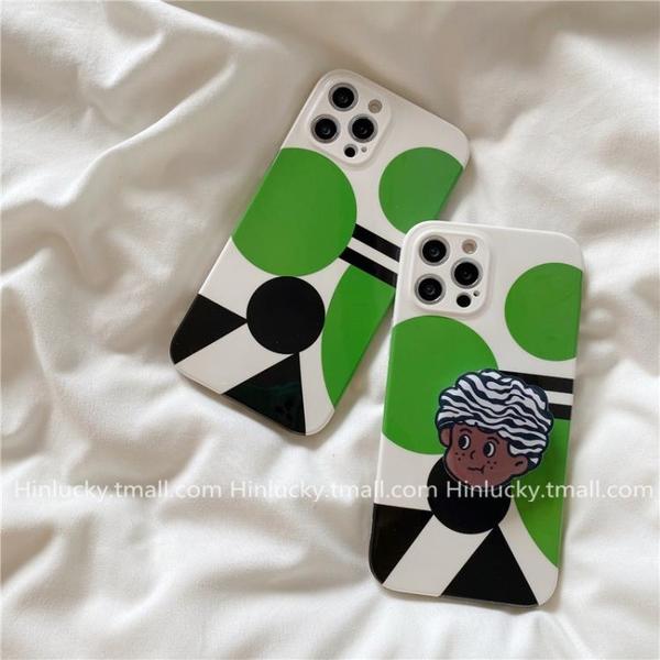 手機殼 保護套ins幾何圖形男孩支架適用iPhone11蘋果12pro max手機殼創意拼色