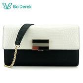 【BO DEREK】 壓紋牛皮斜背手拿包-白色