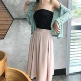時尚新款女裝純色中長款半身裙早秋chic高腰顯瘦百搭氣質A字裙潮